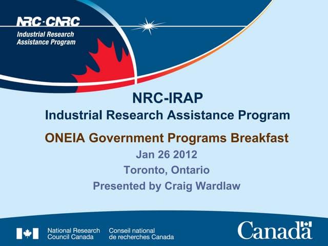 IRAP Presentation, Craig Wardlaw - ONEIA EBOB January 26, 2012