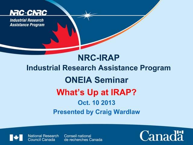 C wardlaw irap oneia oct10 2013