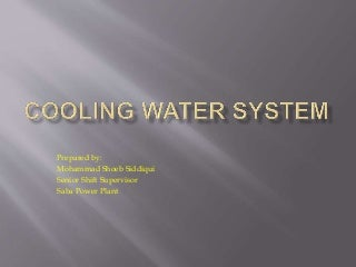Cooling water (CW) system