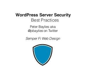WordPress Server Security