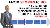 FROM STORIES to ROI…  10 STEPS FOR TRANSFORMING YOUR CUSTOMER INSIGHTS & STORYTELLING INTO REVENUE