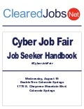 Cyber Job Fair Job Seeker Handbook, August 19, 2015, Colorado Springs, CO