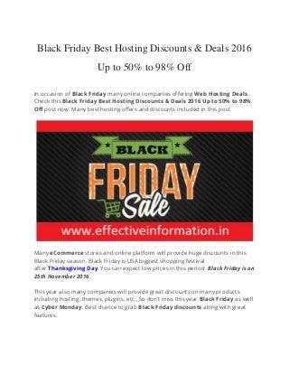 Black Friday & Cyber Monday Best Hosting Deals 2016