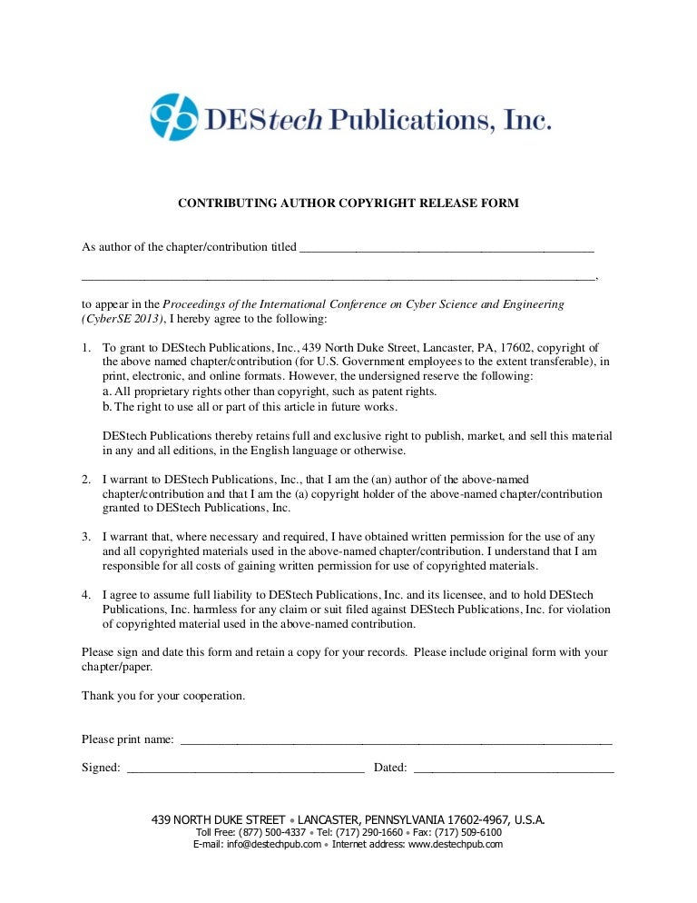 Copyright Release Form. Release Form Release Form | Download Free