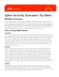 Cyber Security Consumer Tip Sheet - Mobile Devices