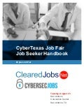 CyberTexas Job Fair Job Seeker Handbook August 23, 2016, San Antonio, Texas