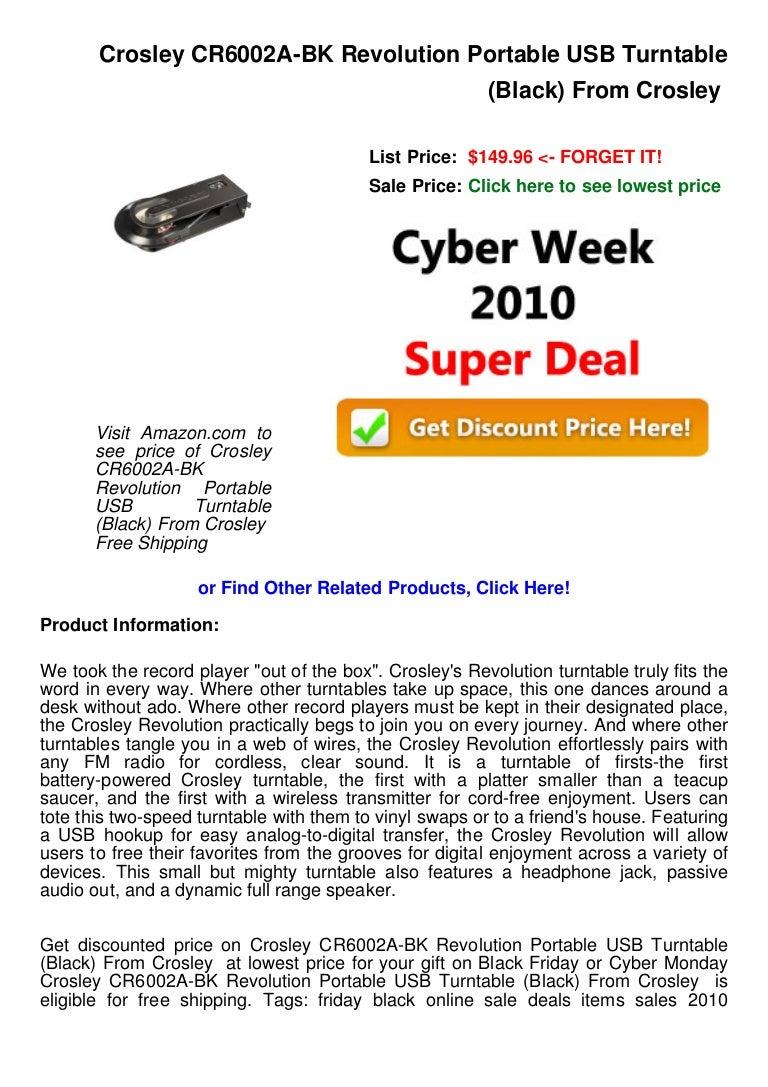 Cyber week deals crosley cr6002 a bk revolution portable usb