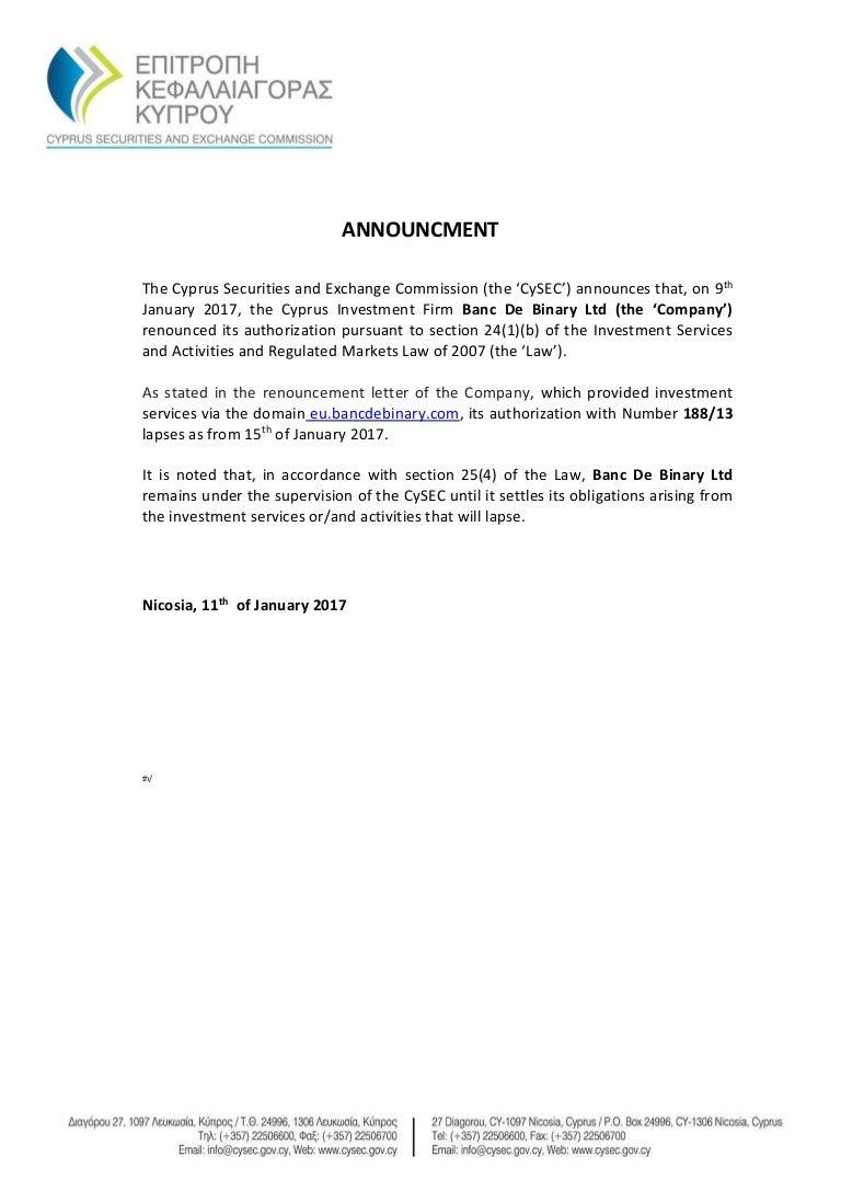 Cysec Announcment Renouncement Of Banc De Binary Authorisation