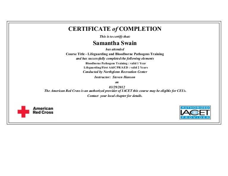 lifeguarding & bloodborne pathogens training certification.