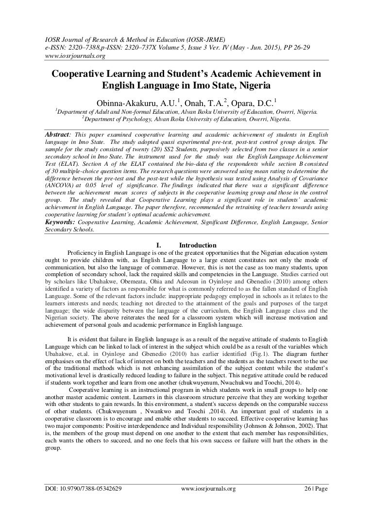 cooperative learning and student s academic achievement in english la