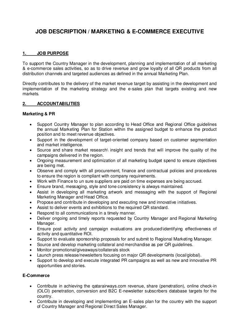Job Description Marketing and ECommerce Executive – Sales and Marketing Job Description