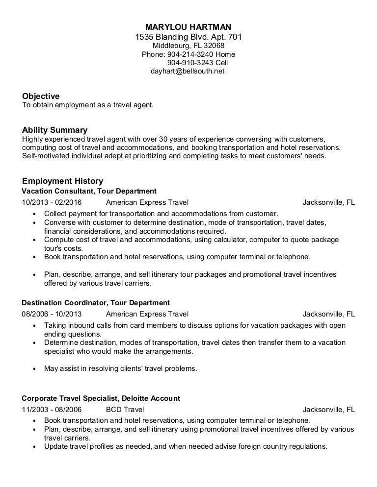 Hartman Travel Agent Resume 2016