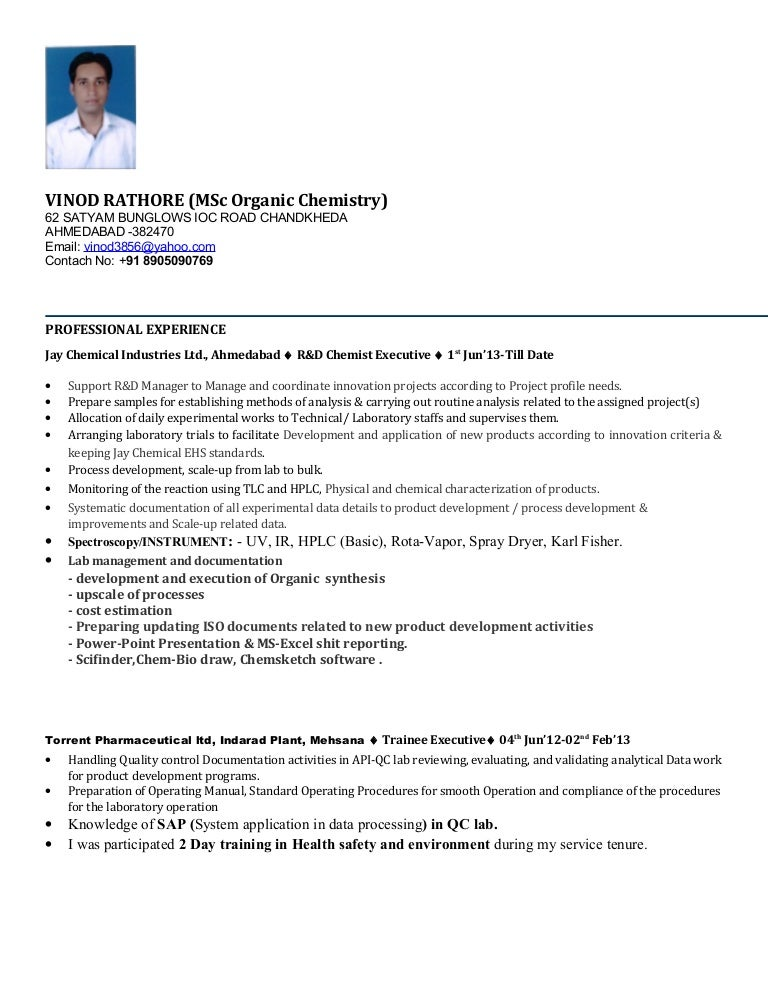 Plant Chemist Resume Sample Chemist Resume Amazing Science
