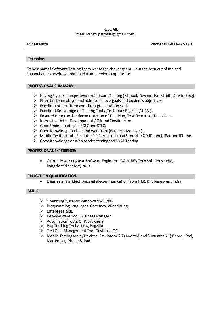 QA Experience Resume