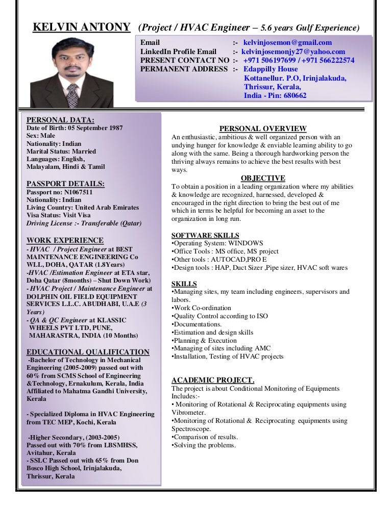 kelvin antony cv project hvac engineer with 5 years gulf experien - Hvac Resume Format