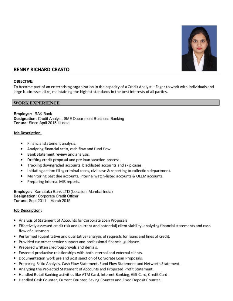 resume for credit analyst