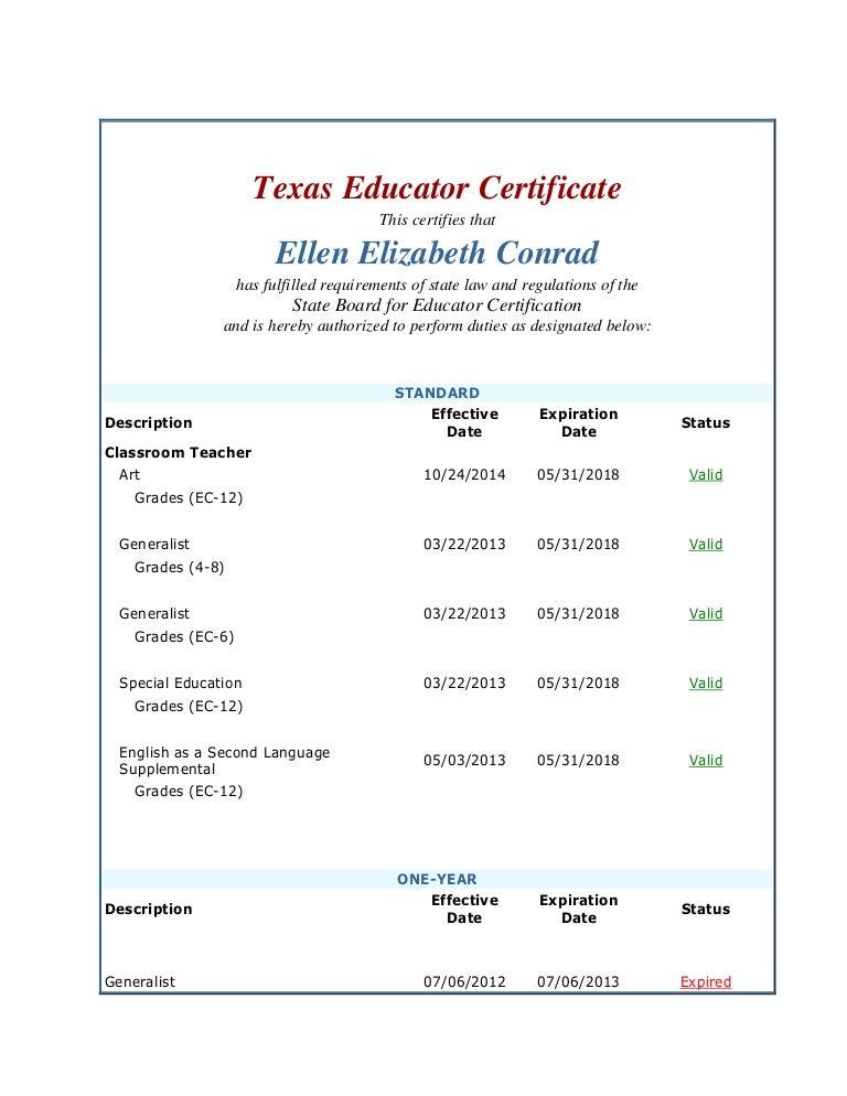 Ellen Conrad Credentials Tx