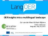 OER insights into a multilingual landscape