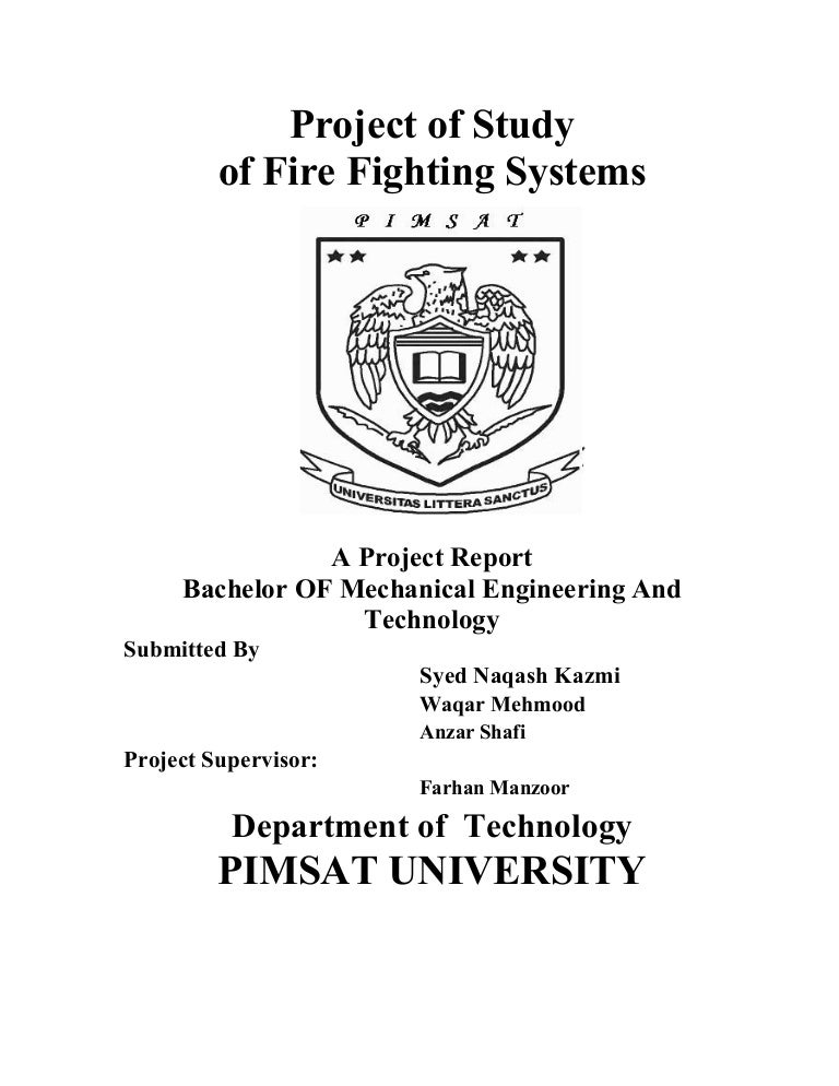 Final Year Project On Fire Fighting Systems