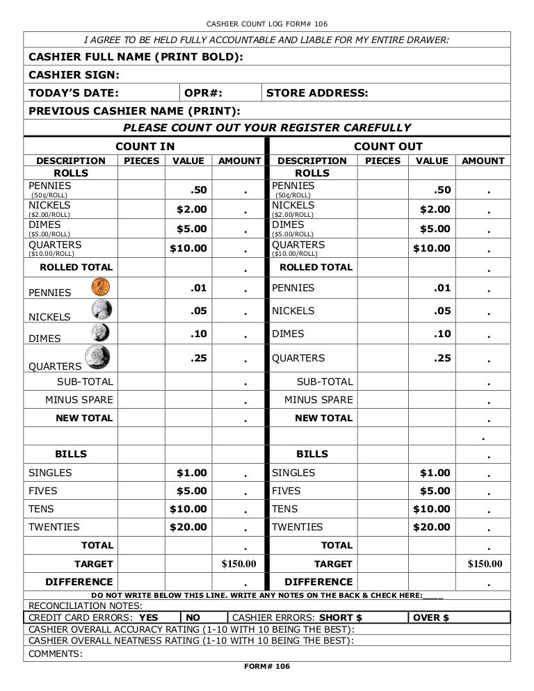 credit card sign out sheet