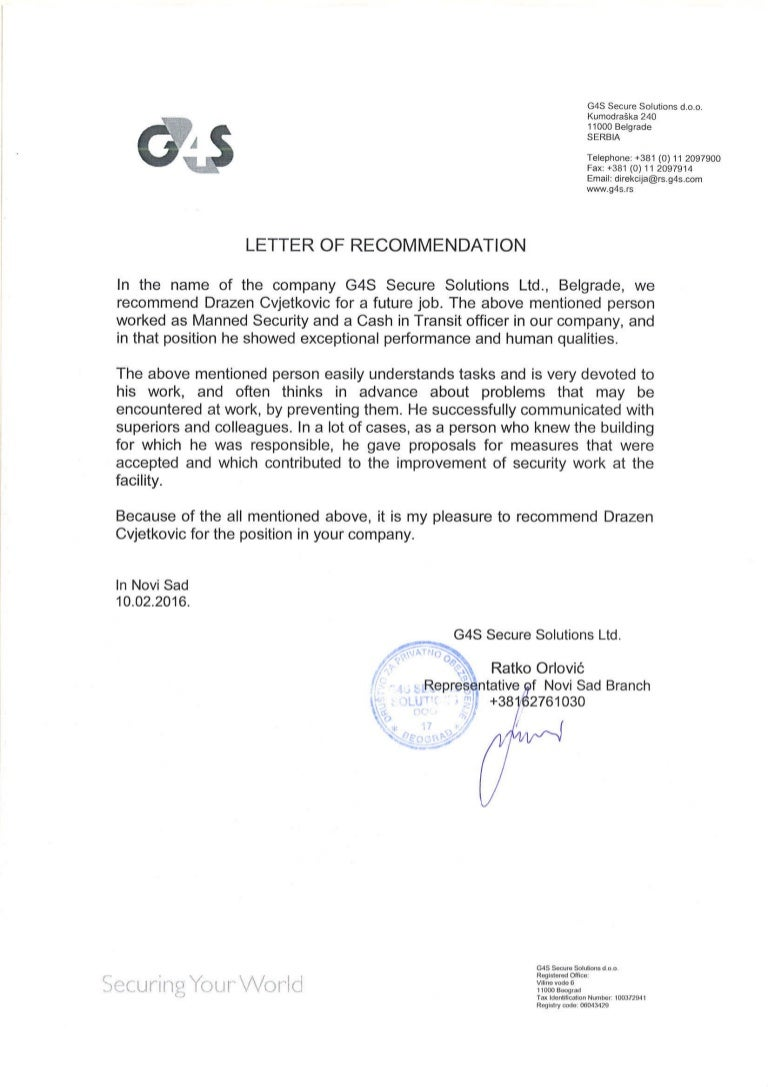 G4s letter of recommendation mitanshu Choice Image
