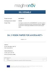 VISION PAPER FOR AN ERA-NET+