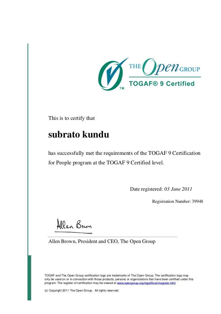 Togaf certification at certification level xflitez Gallery
