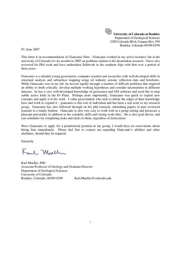 cu boulder recommendation letter