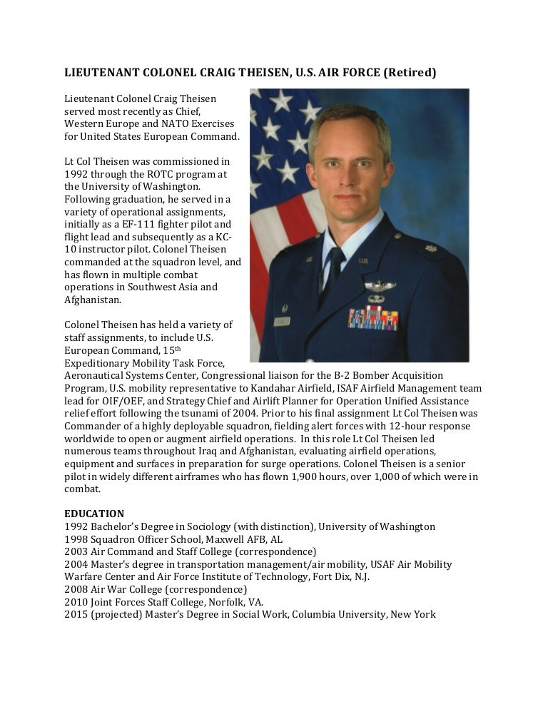 Theisen military bio for Official air force powerpoint template