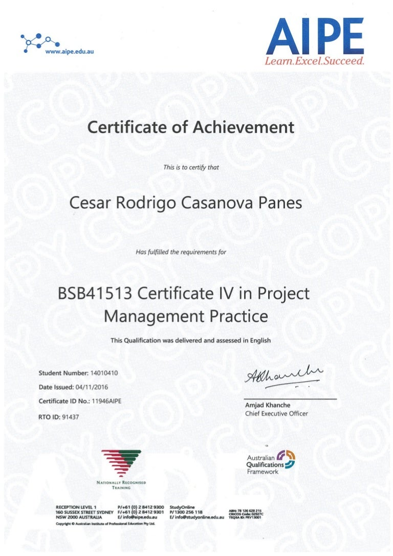 Certificate iv in project management certification of achievement a xflitez Image collections