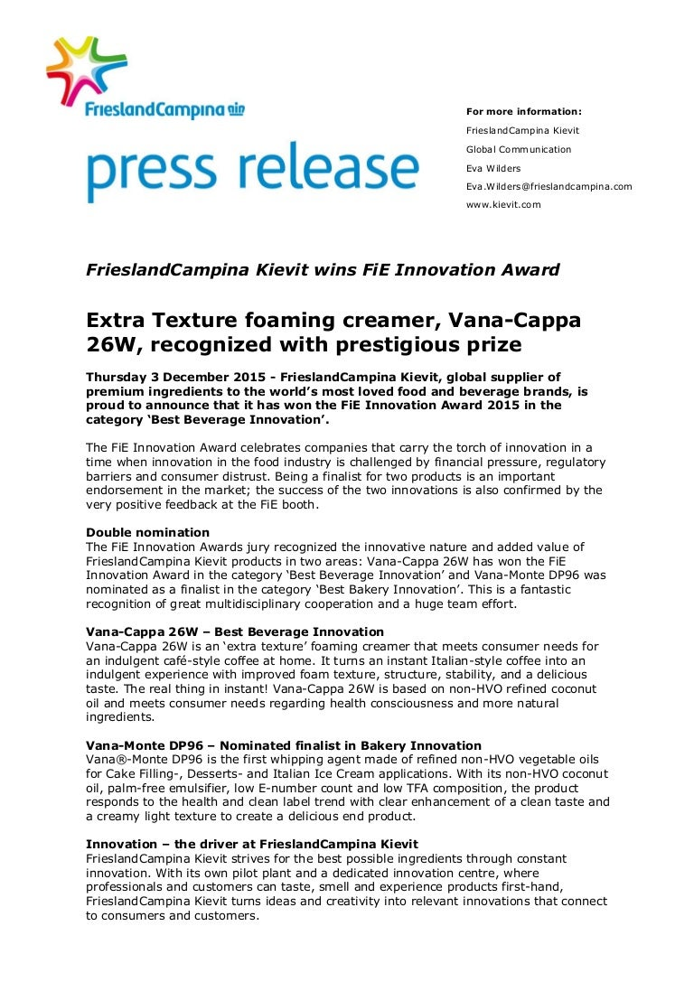press release vana cappa and vana monte wins fie