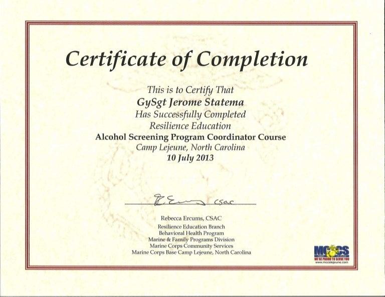 Certcomp Alcohol Screening Program Coordinator Course