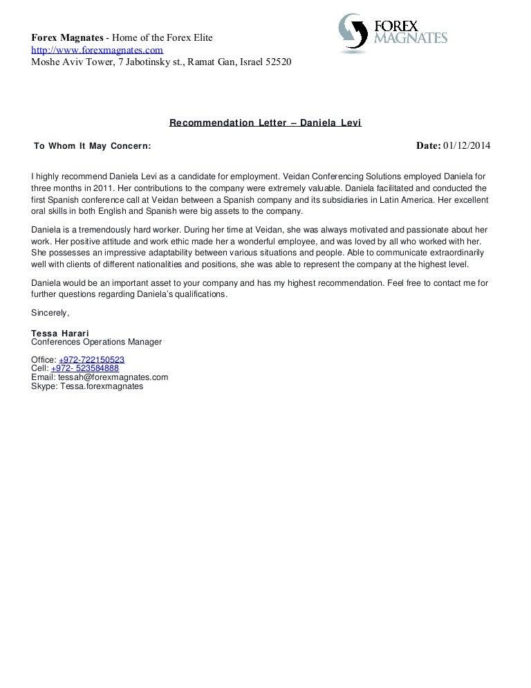 Daniela Levi - Recommendation Letter
