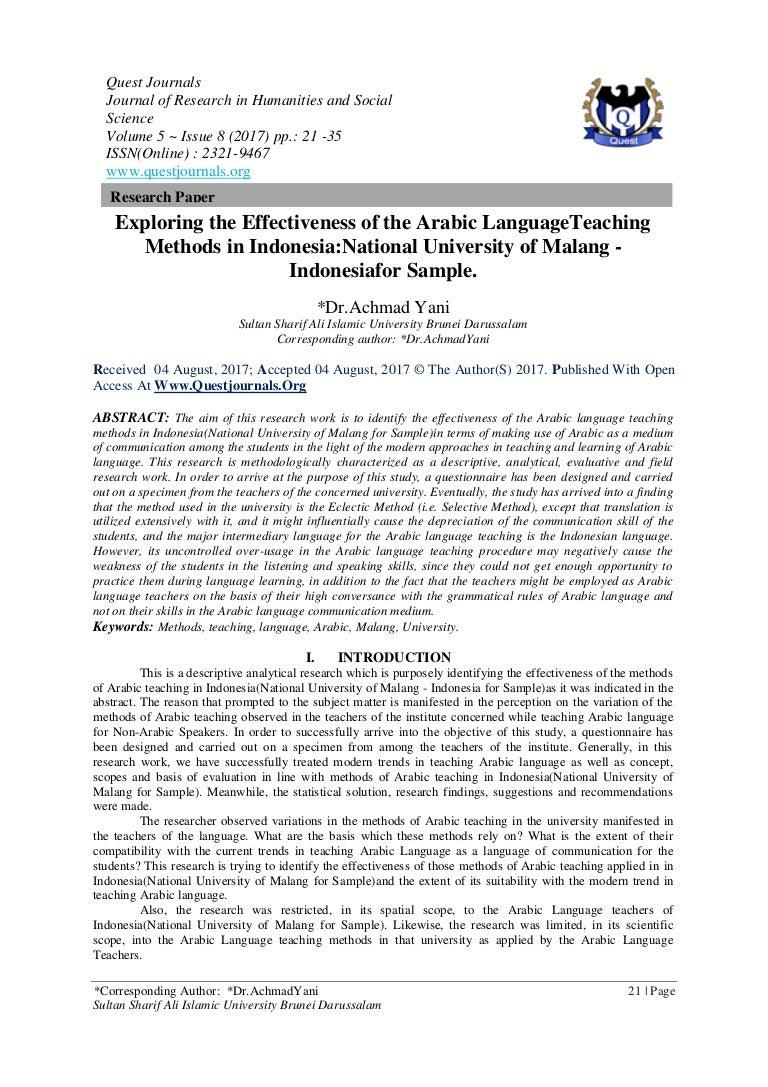 Exploring The Effectiveness Of The Arabic Languageteaching Methods In