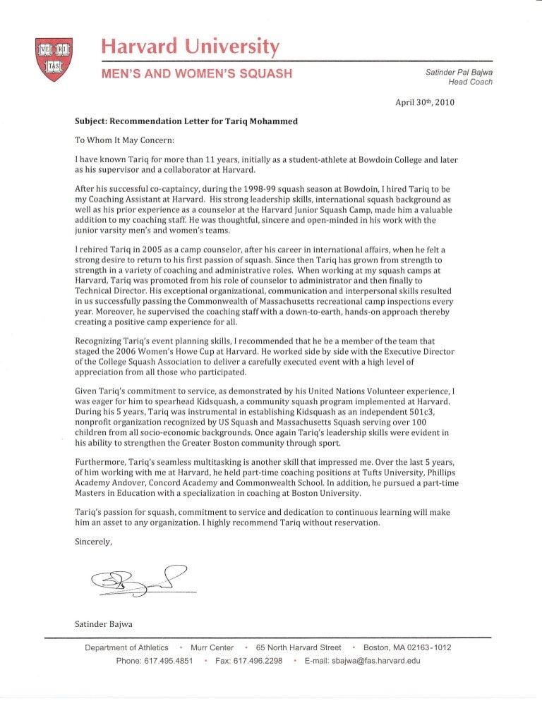 harvard athletics reference letter