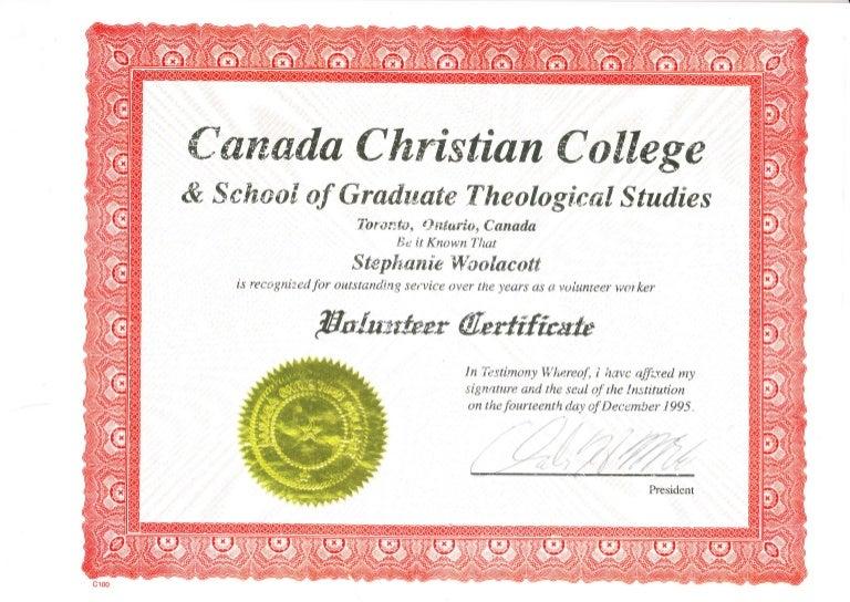 Canada christian college volunteer certificate yelopaper Choice Image