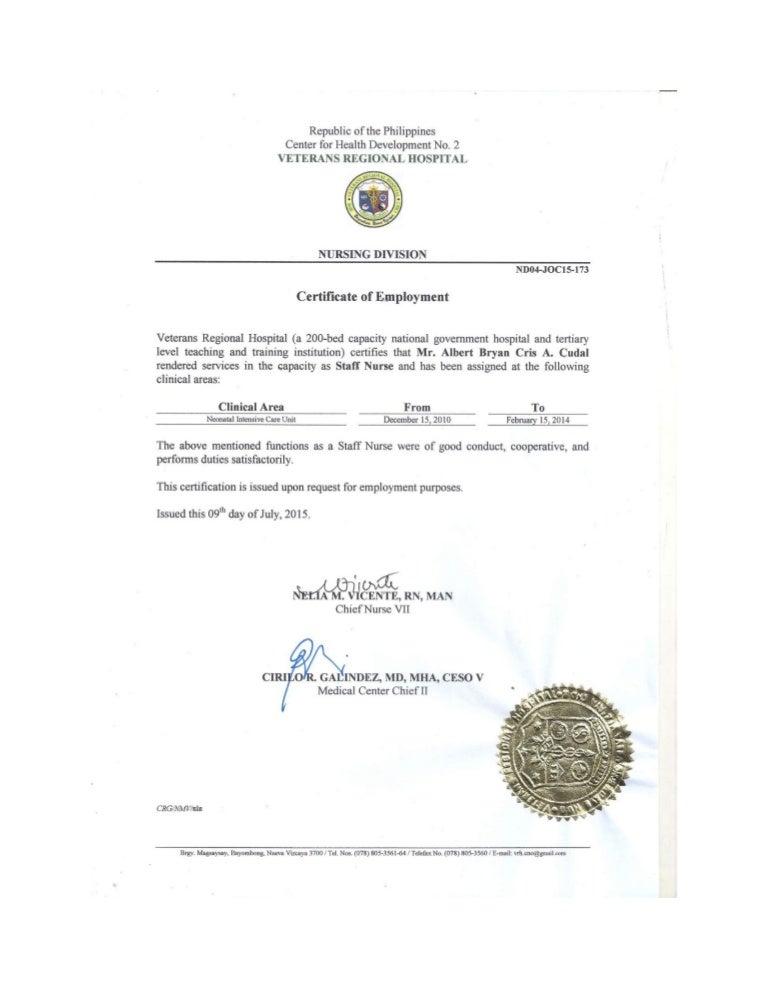 certificate employment job recommendation letter slideshare