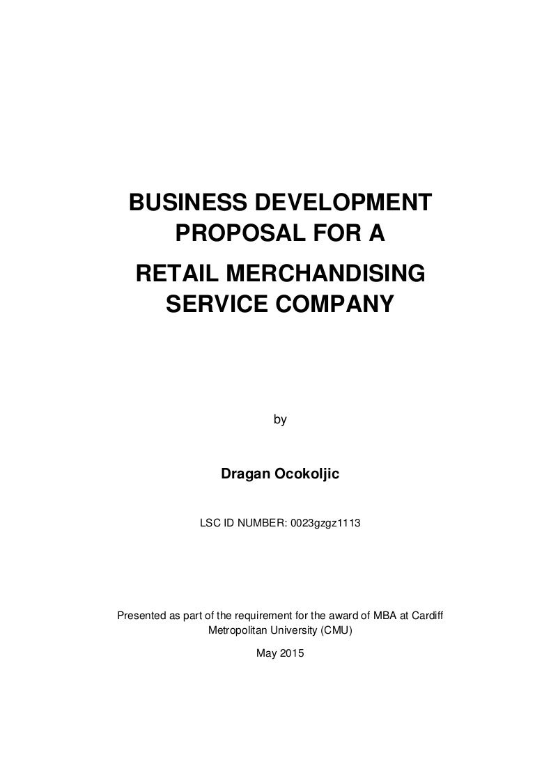 Business Development Proposal Project For A Retail Merchandising Serv