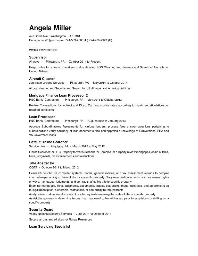 Resume for Angela Miller