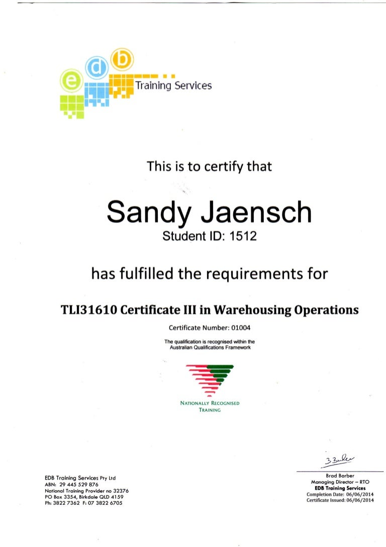 Certificate 3 in warehouse operations tli31610sandy jaensch 1betcityfo Images