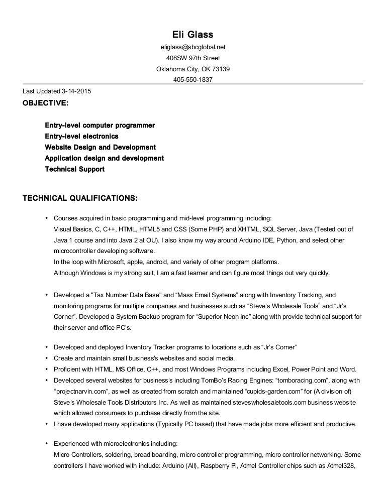 Eli Glass Resume