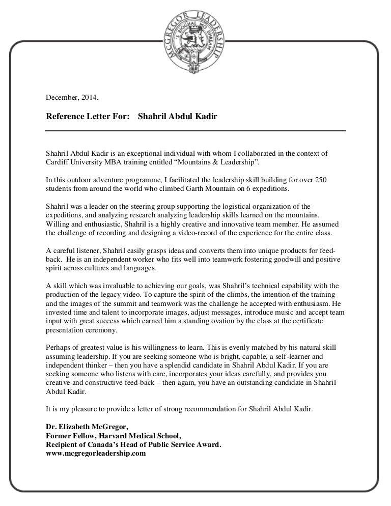 Pdf Reference Letter Mba Shahril Abdul Kadir