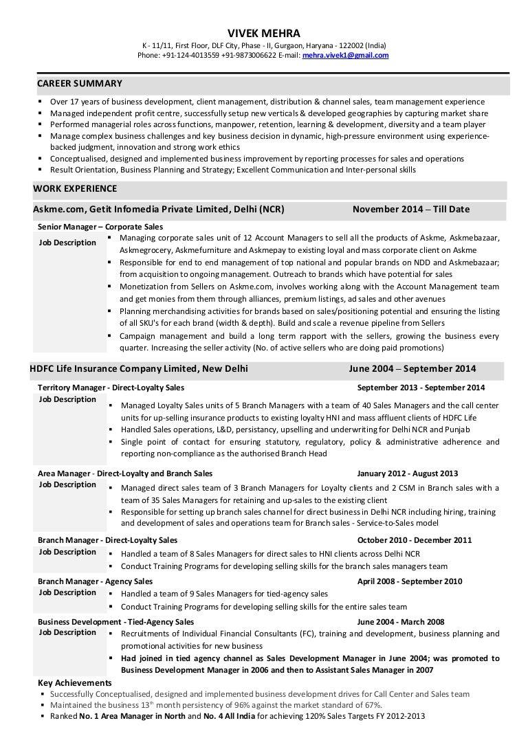 Resume - Vivek Mehra 261015