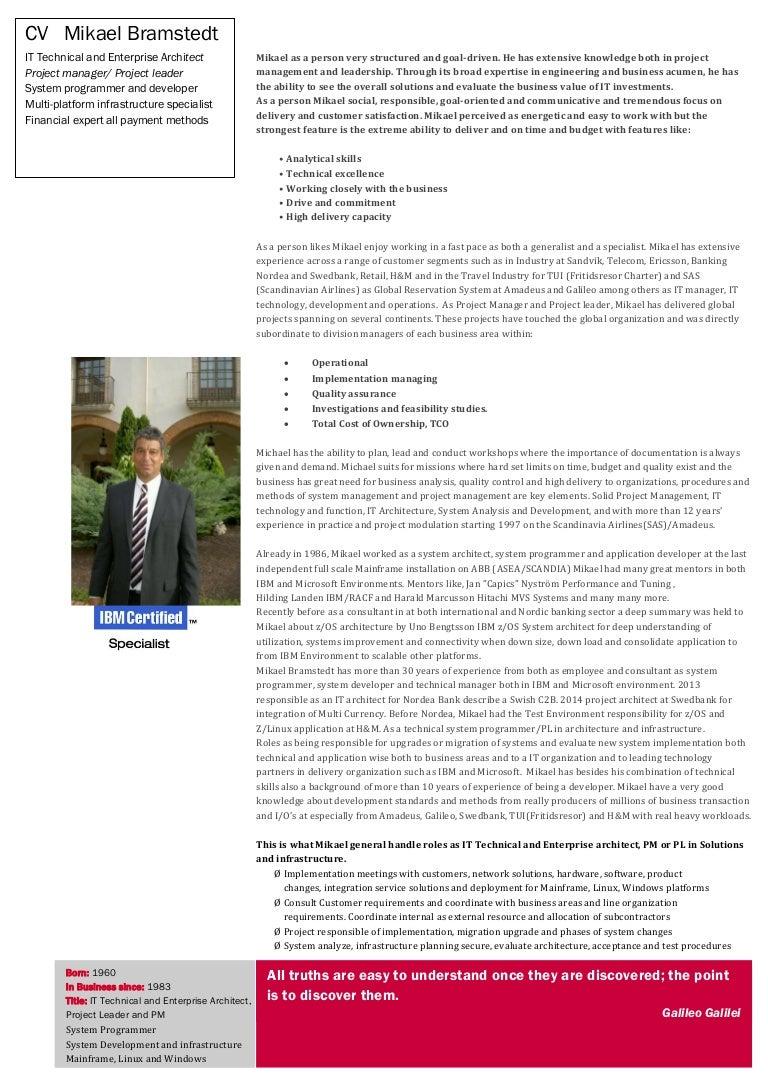 Mikael Bramstedt IBM And Multi Platform IT Architect PM PL Infrastruc…