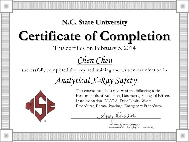 Chen 2 5 2014 Analytical X Ray Certificate