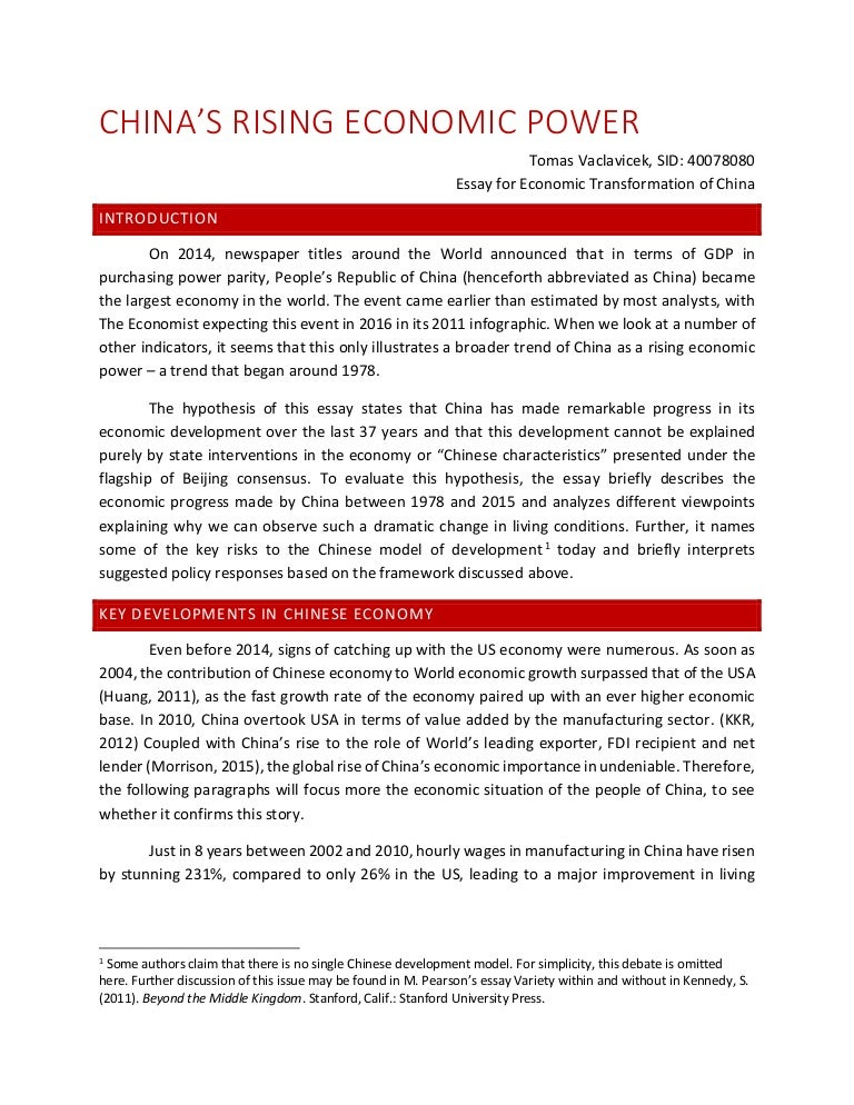essay on chinese economic power tomas vaclavicek