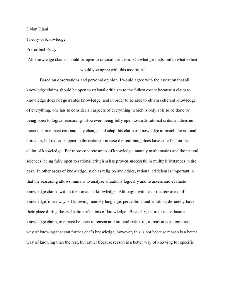 Language and reason as ways of knowing essay