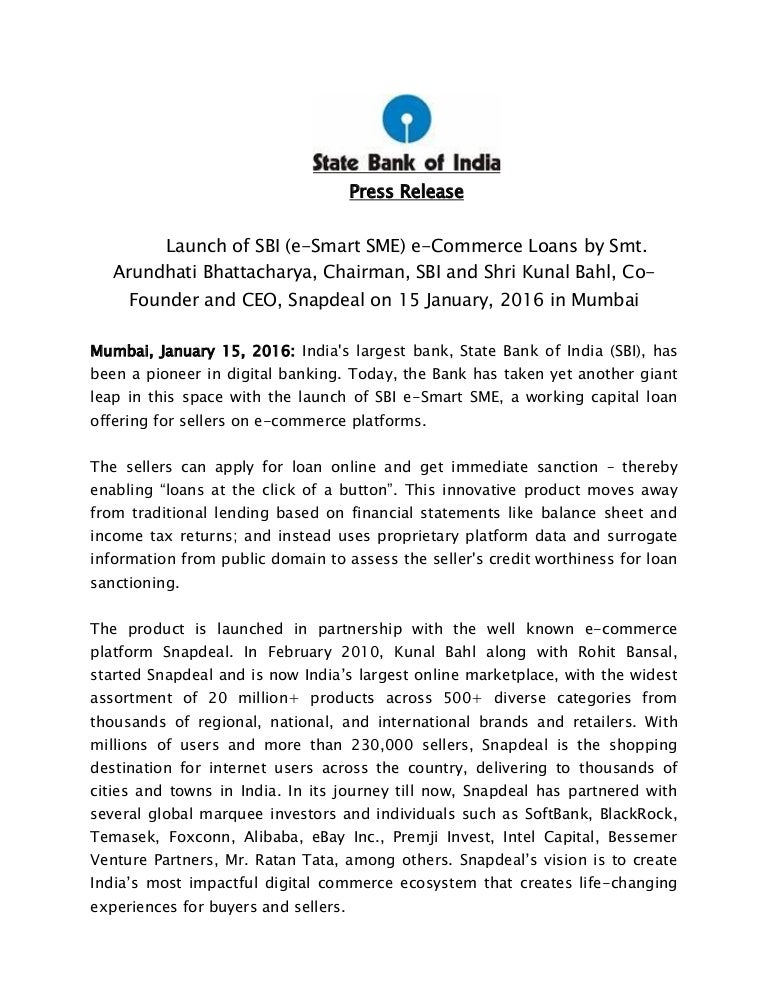 f719d70db Press release - SBI launches SBI %27e-Smart SME%27 in partnership with  Snapdeal