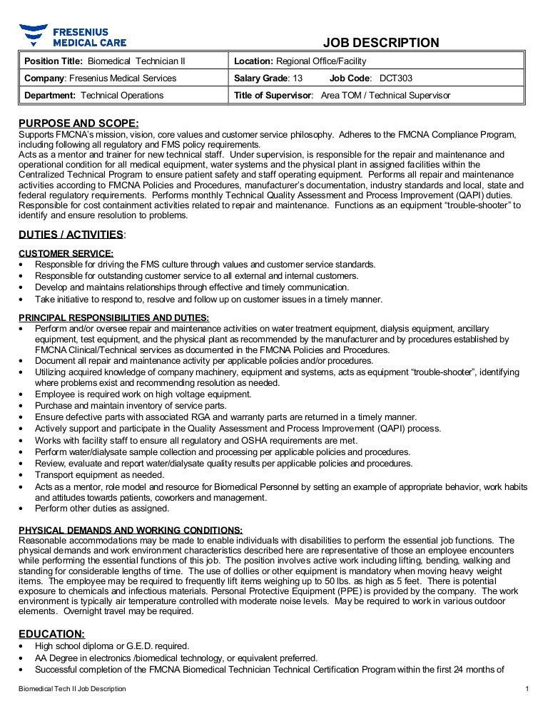 Biomed II Job description