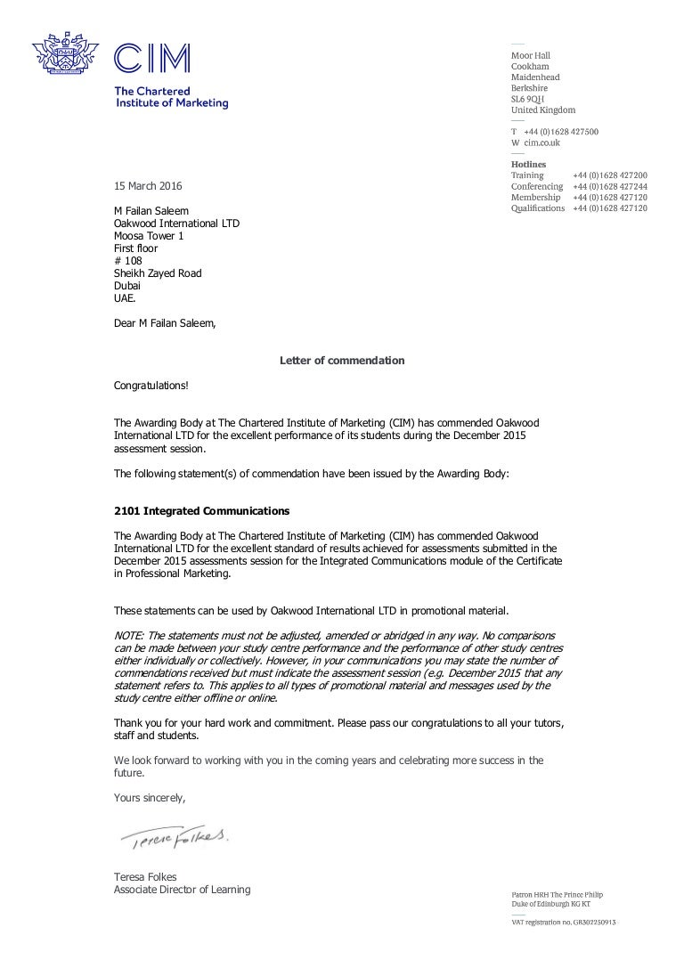 Oakwood International Ltd Commendation Letter